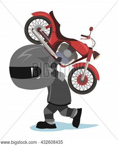 Biker Cartoon. Child Illustration. Goes To The Service. Sports Uniform And Helmet. Cool Motorcycle.