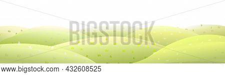 Horizontal Rural Pasture Hills. Farm Cute Landscape. Funny Cartoon Design Illustration. Flat Style.