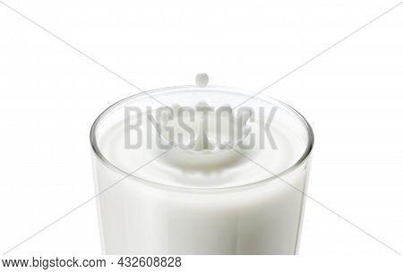 Dropping Milk In Milk Glass Make Wave And Splash In Crown Shape. Closeup Of Milk Drop In Glass Creat