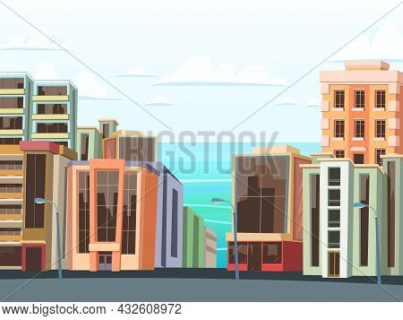 Small Cozy Town. Quiet Residential Area District. Beautiful Modern Buildings. Houses Along The Roads