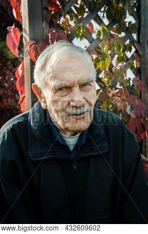 Portrait Of An Old Gray-haired Man In Autumn. A Gray-haired Man Of 88 Years Old Against The Backgrou