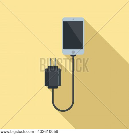 Cellphone Charger Icon Flat Vector. Phone Battery. Cell Mobile