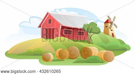 Barn. Garden And Rolling Hills. Rural Farm Landscape With Windmill And Straw. Cute Funny Cartoon Des