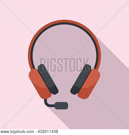 Operator Headset Icon Flat Vector. Headset Microphone. Call Support