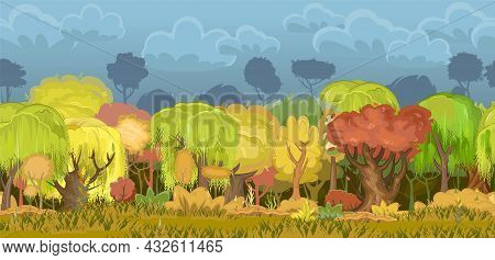 Autumn Forest. Green, Yellow And Red Plants. Edge With Grass. Glade And Meadow. Seamless. Beautiful