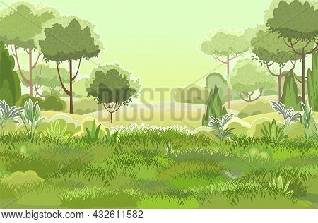 Glade. Amusing Beautiful Vegetation Landscape. Green. Cartoon Style. Hills With Grass And Trees. Coo