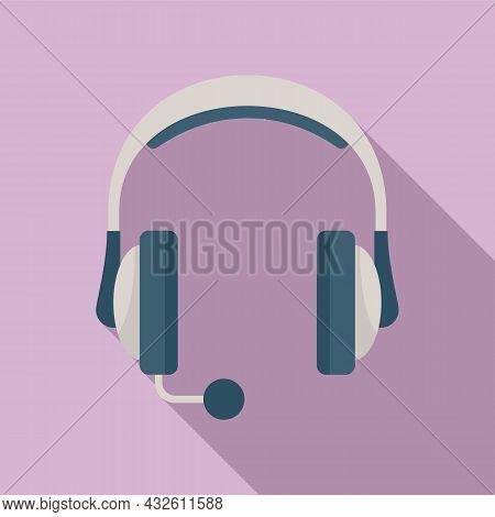Headset Mic Icon Flat Vector. Microphone Headphone. Service Center