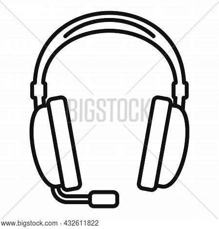 Headset Call Icon Outline Vector. Phone Service. Gamer Microphone
