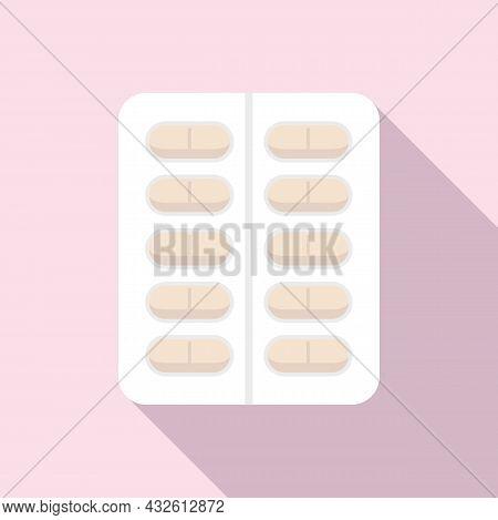 Probiotic Blister Icon Flat Vector. Lactobacillus Bacteria. Healthy Good