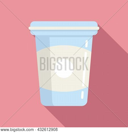 Healthy Yoghurt Icon Flat Vector. Probiotic Bacteria. Good Intestine