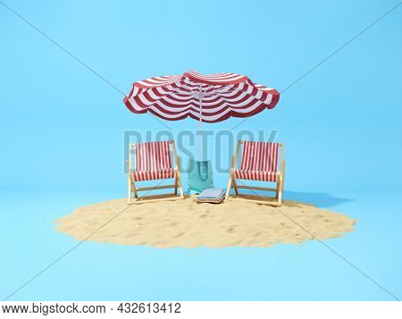Holiday concept art, sandy beach with sun loungers and umbrella on blue background. 3D illustration, rendering.