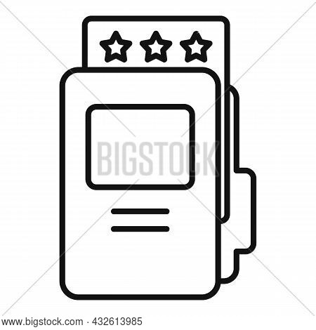 Folder Product Review Icon Outline Vector. Online Evaluation. Customer Star
