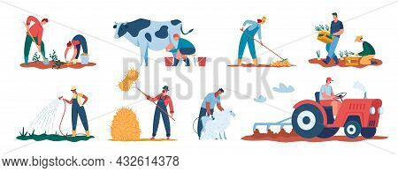 Agricultural Workers Harvesting Plants, Farmers Working In Field. Farmer Watering Crops, Shearing Sh