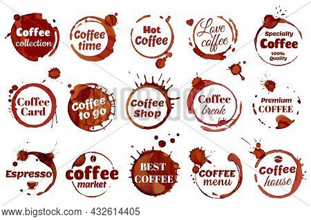 Coffee Stain Ring Label, Coffee Shop Cafe Logo. Premium Quality Emblem, Dirty Cup Circle Stains Badg