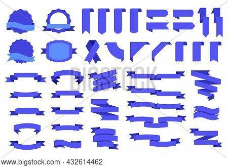 Blue Flag Labels And Badges, Tags Ribbons Banners. Vintage Decorative Design Elements Flat Ribbon, L