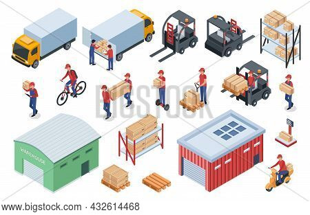 Isometric Warehouse Logistics, Delivery Workers, Cargo Vehicles. Forklift, Truck, Storage Shelves Wi