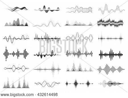 Black Sound Waves, Music Beat, Audio Equalizer. Abstract Voice Wave Rhythm, Radio Waveform, Digital