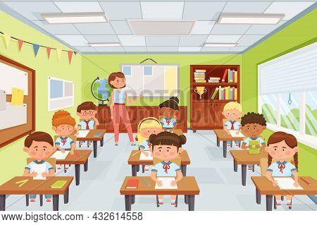 Cartoon Teacher With Pupils, School Kids Sitting At Desks In Classroom. Elementary School Children S