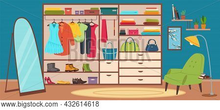 Dressing Room Interior, Wardrobe With Fashion Women Clothes. Modern Bedroom Design With Closet, Mirr