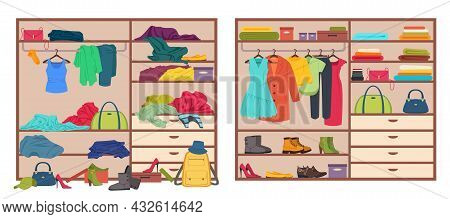 Messy Wardrobe, Open Closet Before And After Organizing Clothes. Tidy Or Untidy Wardrobe, Clothing D