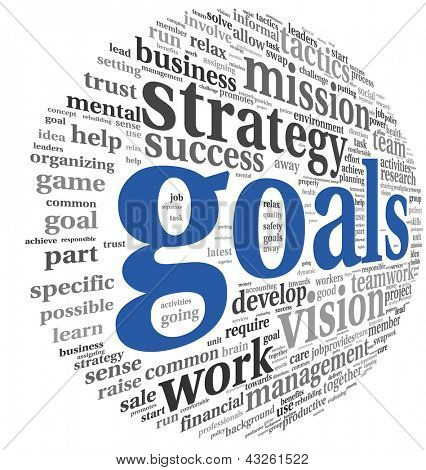 Goals in project and management concept in word tag cloud
