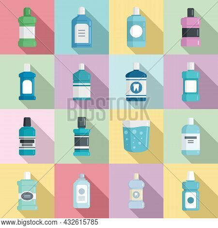 Tooth Rinse Icons Set Flat Vector. Fresh Breath. Liquid Bottle