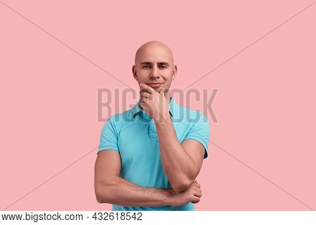 Handsome Homosexual Bald Man With Bristle In Doubt, Does Not Believe You, Makes Decision, Touches Ch