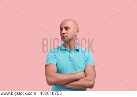 Upset Calm Handsome Bald Homosexual Man With Bristle Is Looking Aside, Disappointed With Someone, Cr