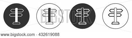Black Road Traffic Sign. Signpost Icon Isolated On White Background. Pointer Symbol. Isolated Street