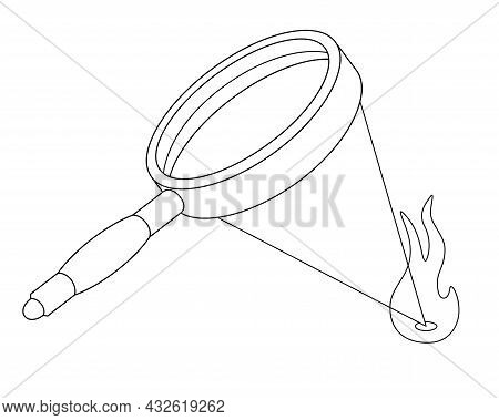 Kindling Fire With A Magnifying Glass - Vector Linear Illustration For Coloring. A Magnifying Glass
