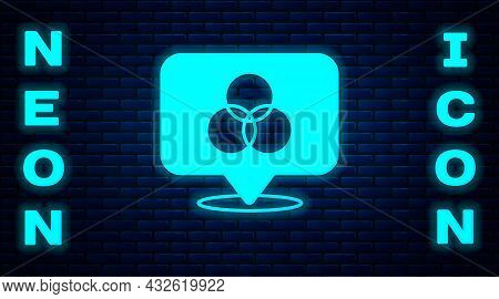 Glowing Neon Rgb And Cmyk Color Mixing Icon Isolated On Brick Wall Background. Vector