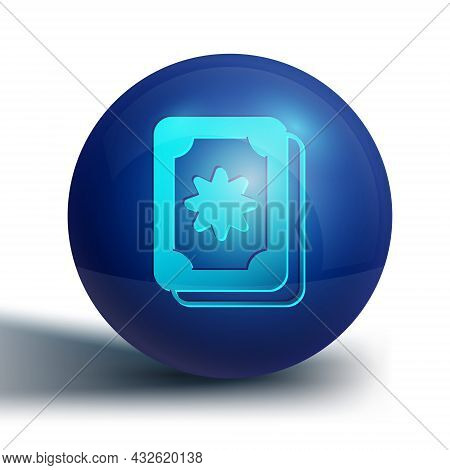 Blue Tarot Cards Icon Isolated On White Background. Magic Occult Set Of Tarot Cards. Blue Circle But