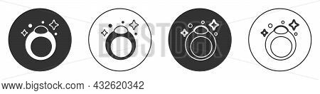 Black Fantasy Magic Stone Ring With Gem Icon Isolated On White Background. Circle Button. Vector