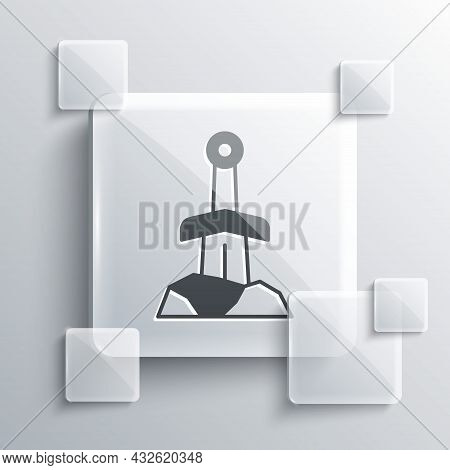 Grey Sword In The Stone Icon Isolated On Grey Background. Excalibur The Sword In The Stone From The
