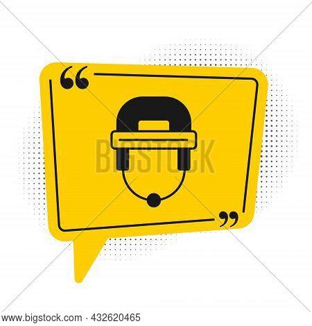 Black Hockey Helmet Icon Isolated On White Background. Yellow Speech Bubble Symbol. Vector