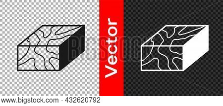 Black Wooden Beam Icon Isolated On Transparent Background. Lumber Beam Plank. Vector