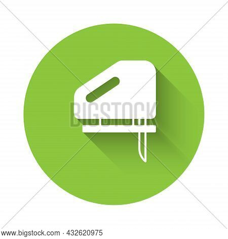 White Electric Jigsaw With Steel Sharp Blade Icon Isolated With Long Shadow Background. Power Tool F