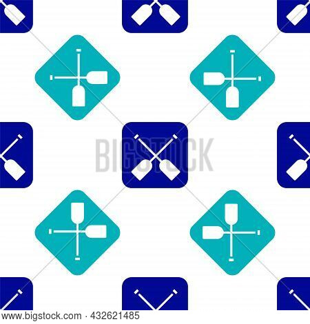 Blue Paddle Icon Isolated Seamless Pattern On White Background. Paddle Boat Oars. Vector