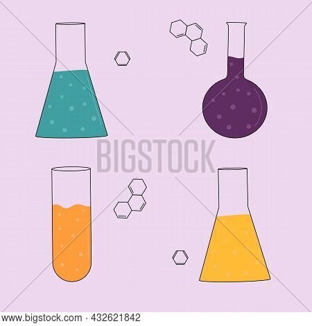 Chemistry. Multicolored Chemical Flasks. Flat Vector Illustration.