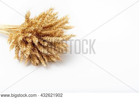 Bushy Sheaf Of Rye On White Background. Wheat Is Golden In Color And Light And Dark Beige Tones. Min