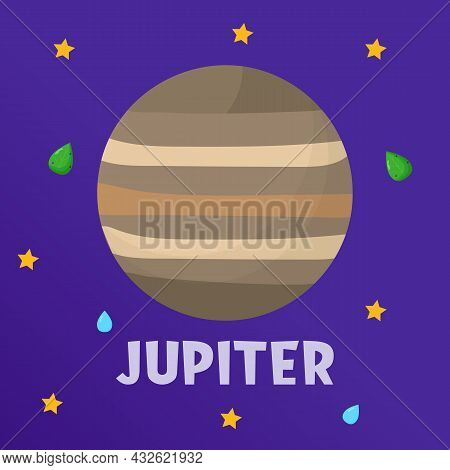 Jupiter. Type Of Planets In The Solar System. Space. Flat Vector Illustration.