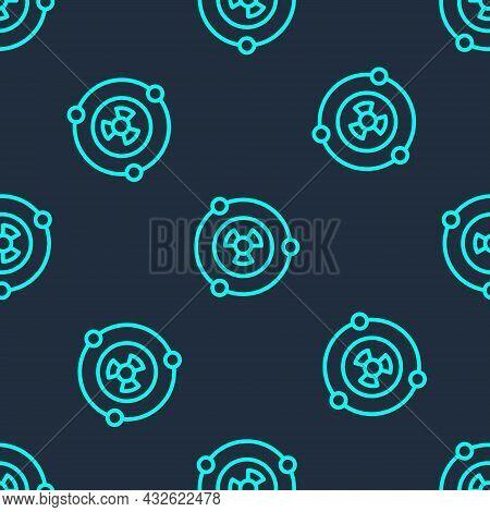 Green Line Radioactive Icon Isolated Seamless Pattern On Blue Background. Radioactive Toxic Symbol.