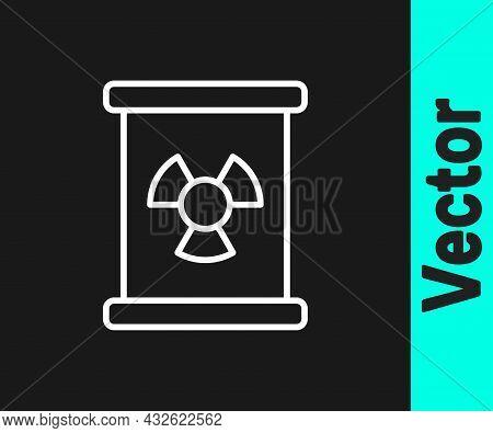 White Line Radioactive Waste In Barrel Icon Isolated On Black Background. Toxic Refuse Keg. Radioact