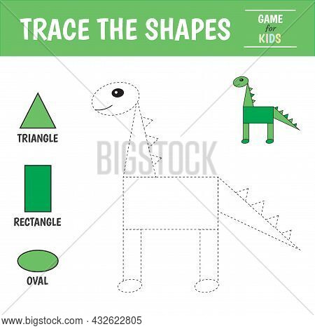 Learn Geometric Shapes  - Triangle, Oval And Rectangle . Preschool Worksheet For Practicing Motor Sk