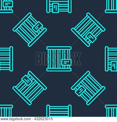 Green Line Animal Cage Icon Isolated Seamless Pattern On Blue Background. Vector