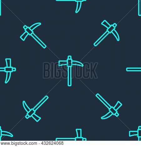 Green Line Pickaxe Icon Isolated Seamless Pattern On Blue Background. Vector