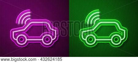 Glowing Neon Line Smart Car System With Wireless Connection Icon Isolated On Purple And Green Backgr