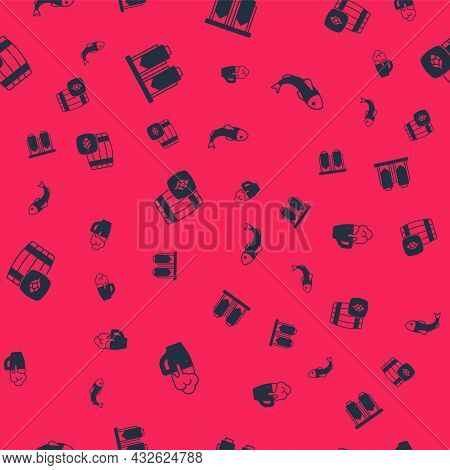 Set Glass Of Beer, Beer Brewing Process, Wooden Barrel And Dried Fish On Seamless Pattern. Vector