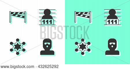 Set Thief Mask, Crime Scene, Hexagram Sheriff And Suspect Criminal Icon. Vector