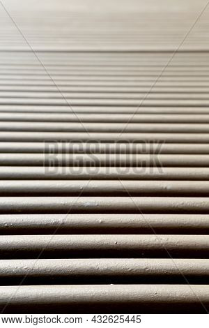 Photography On Theme Big Wall Of Abstract Wooden Lines Plank, Close Up On Background. Photo Consisti